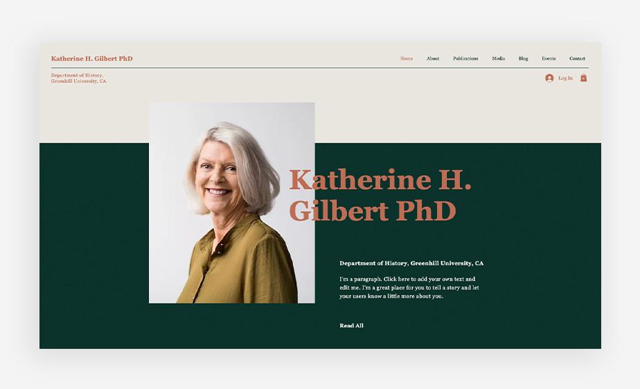 박사 학위를 가진 연구원 캐서린의 소개가 보여지는 웹사이트 화면
