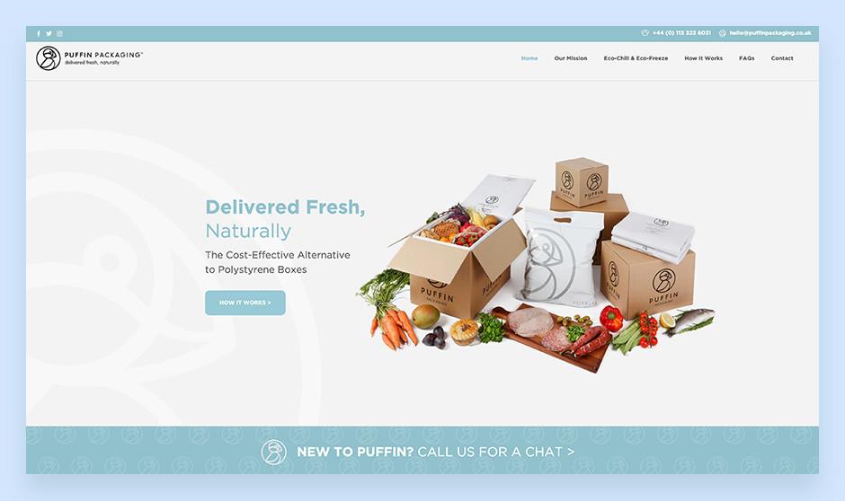 puffin imballaggi esempio sito piccola media impresa