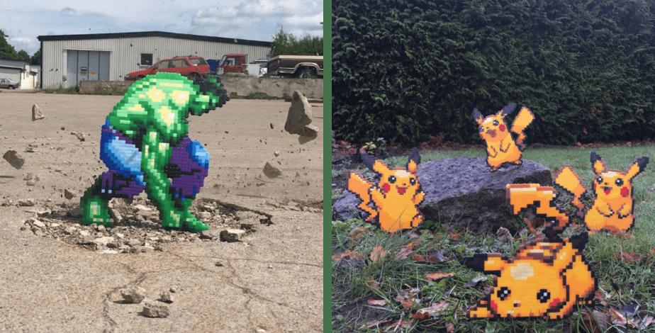 Pappas Pärlor Art: The Hulk and Pikachu