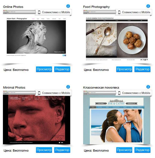 Шаблоны Wix для фотосайтов