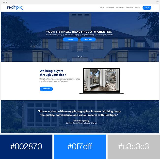 site monochromatique bleu exemple