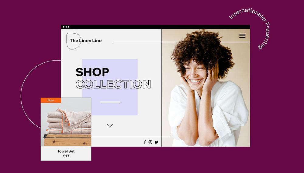Bild eines Online-Shops mit Shop collection und einer Frau