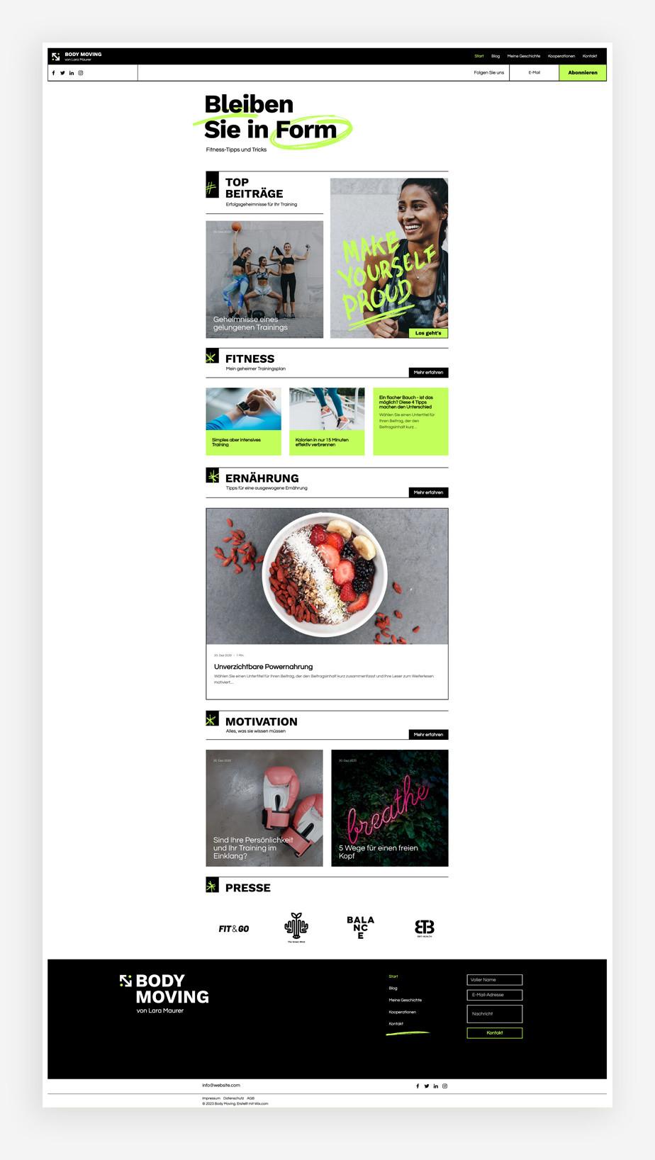 Blog Template von Wix für einen Fitness Blog