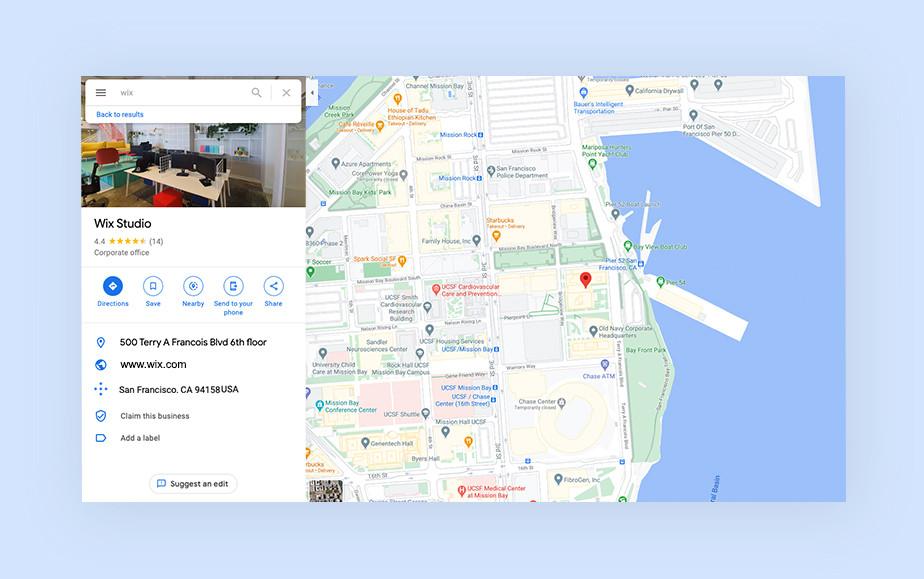 Ausschnitt aus GoogleMaps mit dem Standort vom Wix Studio in San Francisco