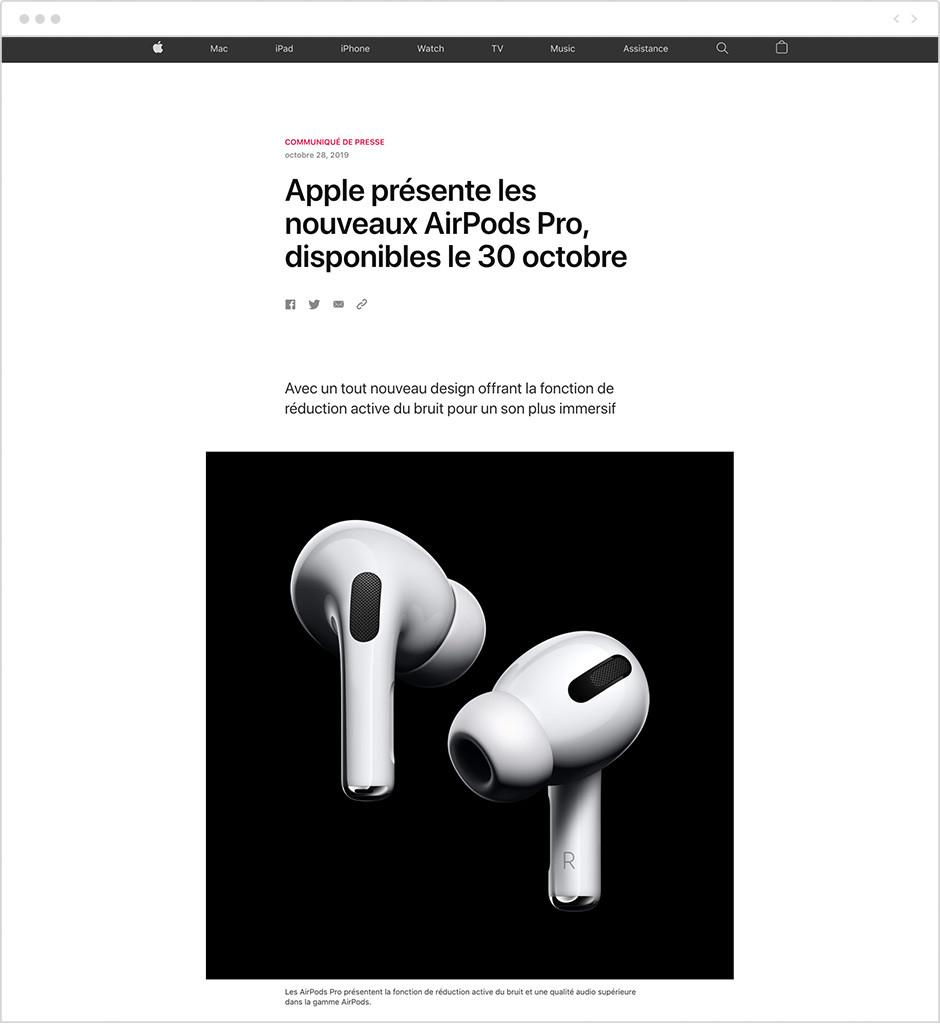 Exemple de communiqué de presse - Apple