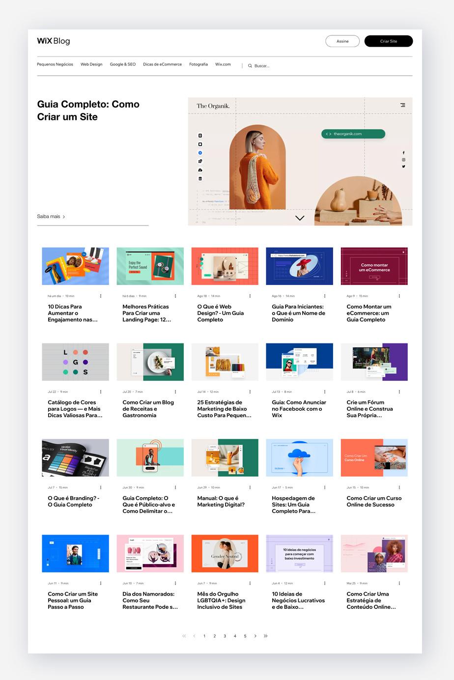 Exemplo de marketing de conteúdo: Blog do Wix