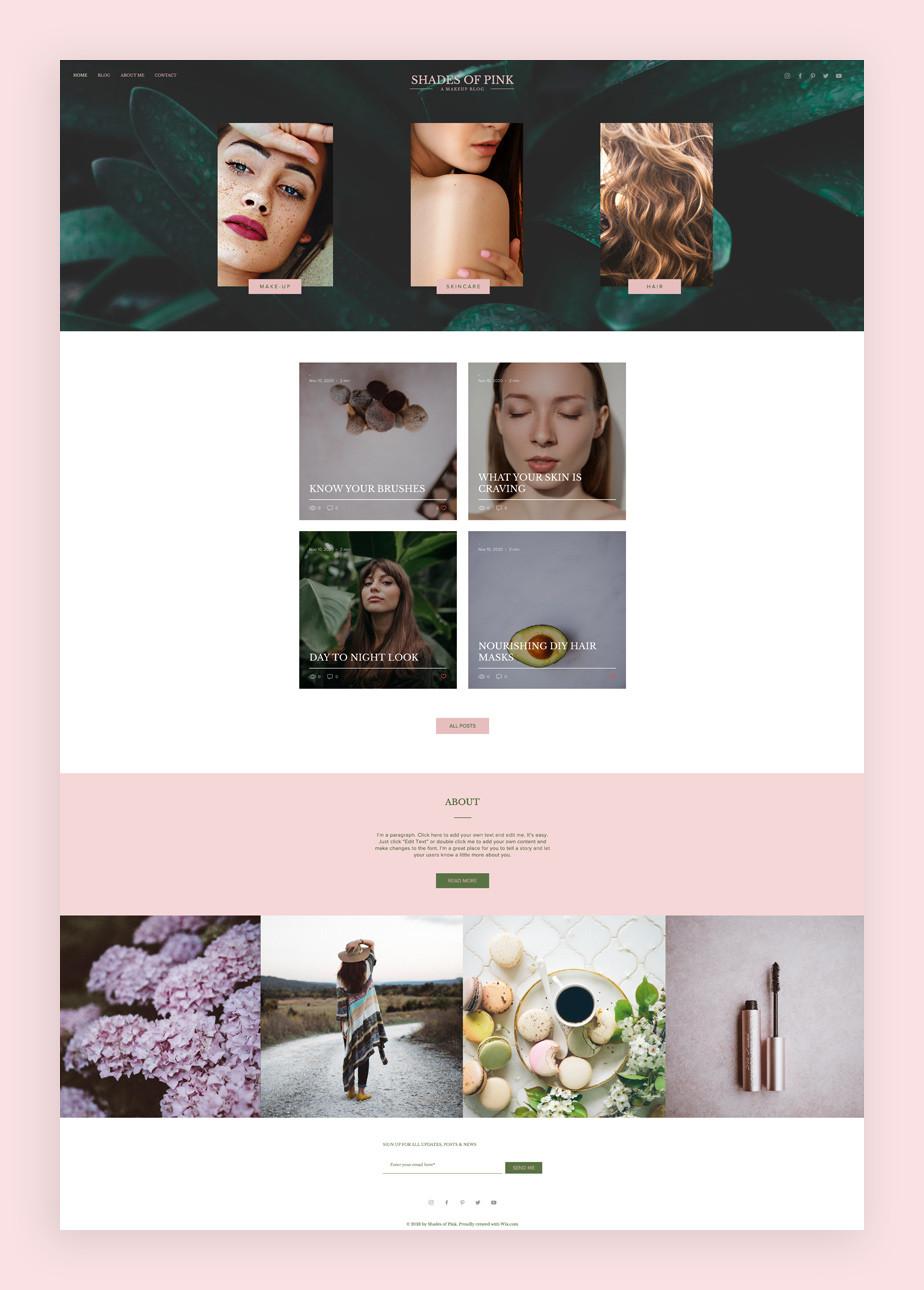 Blog Template von Wix für einen Beauty Blog