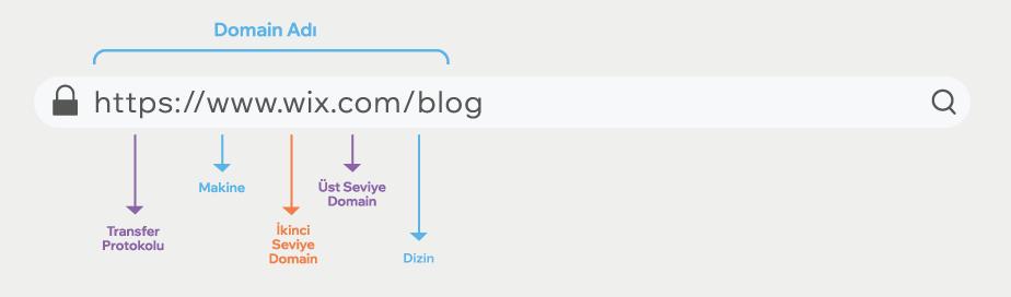 domain adı yapısı, transfer protokolü, makine, ikinci seviye domain, üst seviye domain ve dizin
