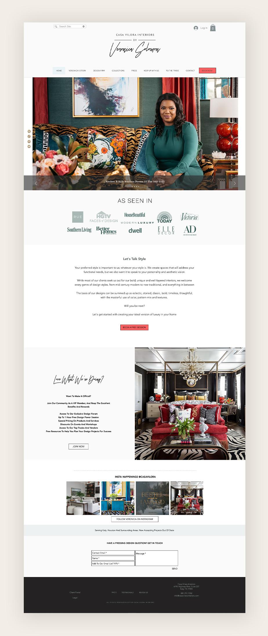 Пример сайта для интерьерного салона