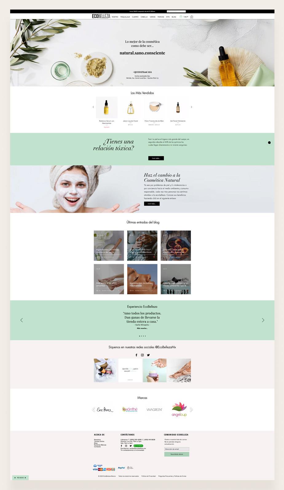 Captura de pantalla de Ecobelleza como ejemplo de las mejores tiendas ecologicas