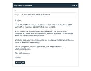 Message d'absence agent presse
