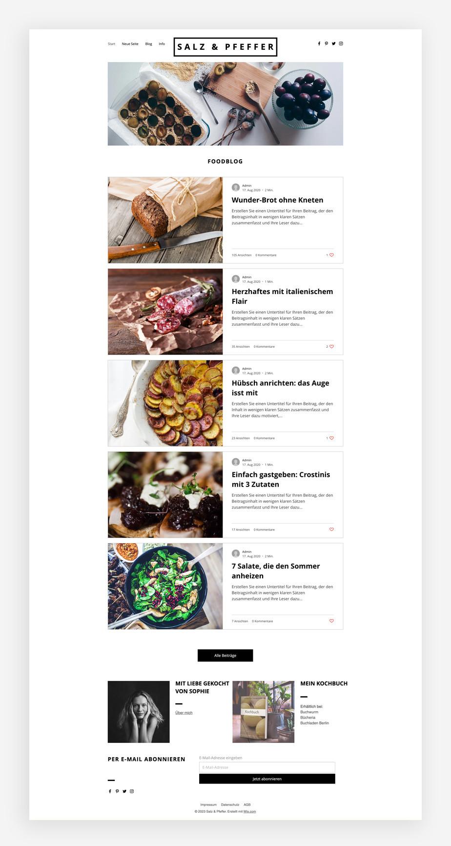 Blog Template von Wix für einen Food Blog