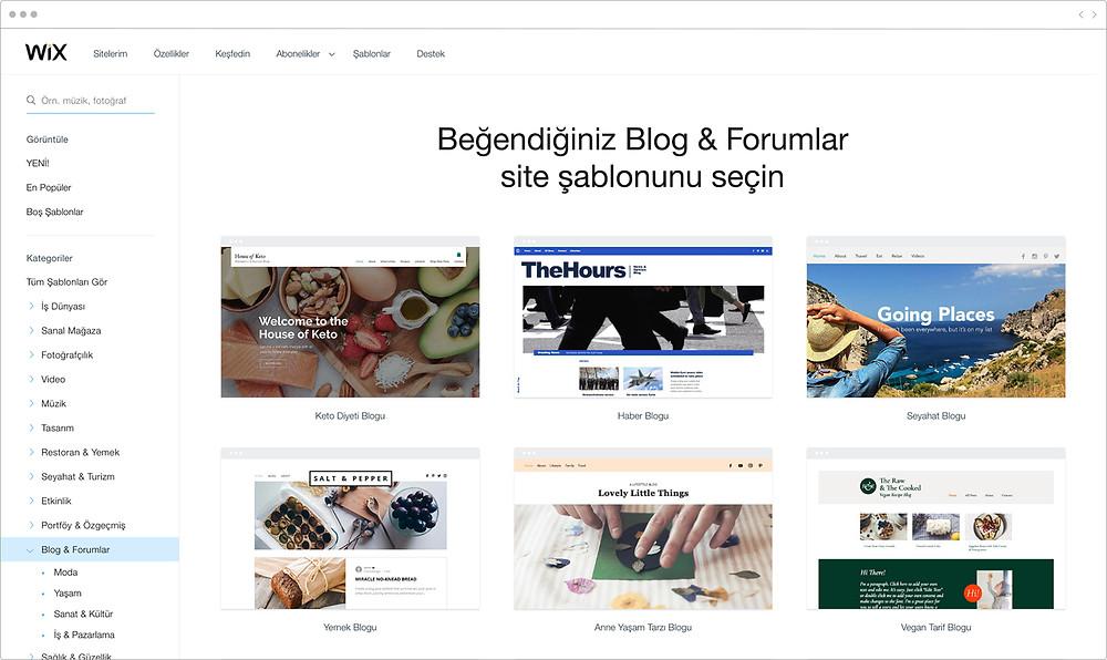 Wix'in blog ve forum için web site tasarımları