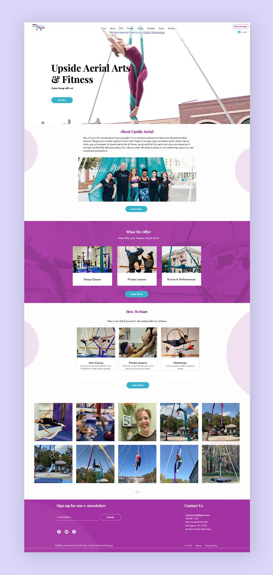 Website von Upside Aerial Arts & Fitness als Beispiel für eine Buchungswebsite