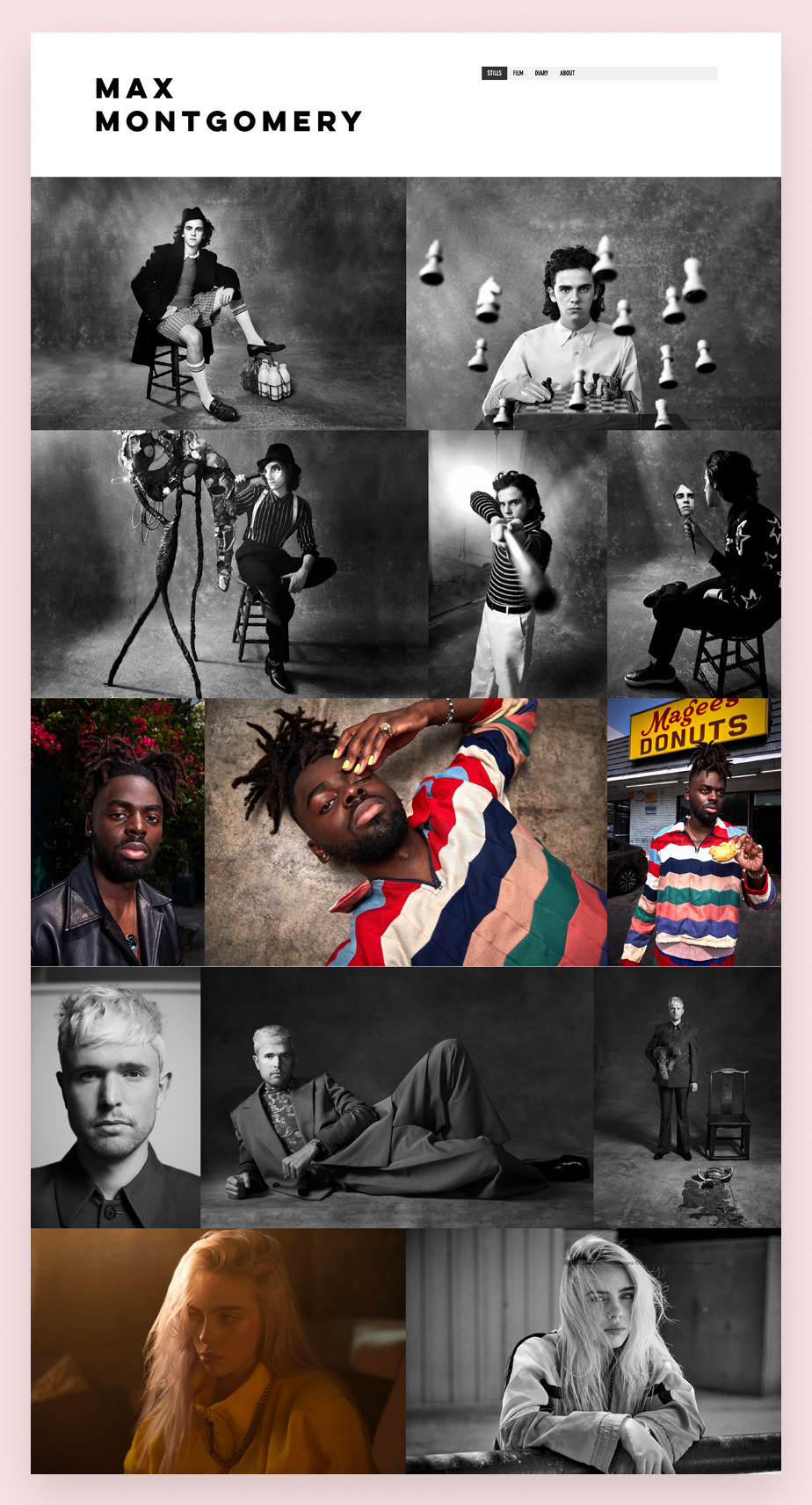 Screenshot da página inicial do site de portfolio do fotógrafo de publicidade e celebridades Max Montgomery