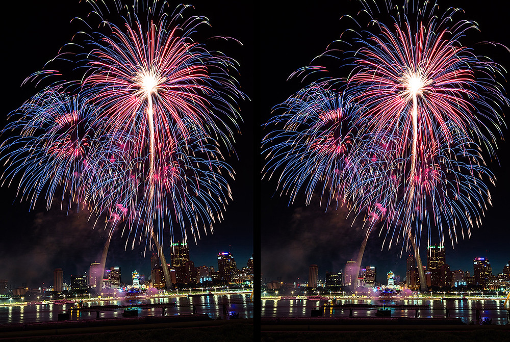 Zwei Ansichten eines Fotos mit Feuerwerk und Horizont  in zwei verschiedenen Stadien der Bildbearbeitung