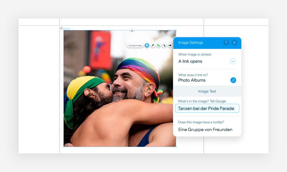 Ausschnitt aus der Medienverwaltung von Wix mit einem Foto eines tanzenden schwulen Paares bei der Pride Parade