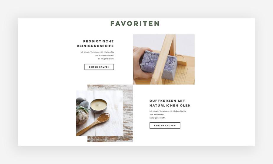 Ansicht der Produktbilder mit Seifen eines eCommerce Templates