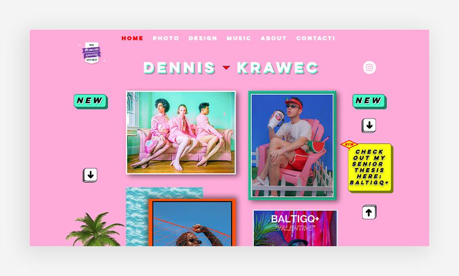 형형색색의 다양한 이미지와 영상미가 돋보이는 데니스 크라웩의 웹사이트 메인