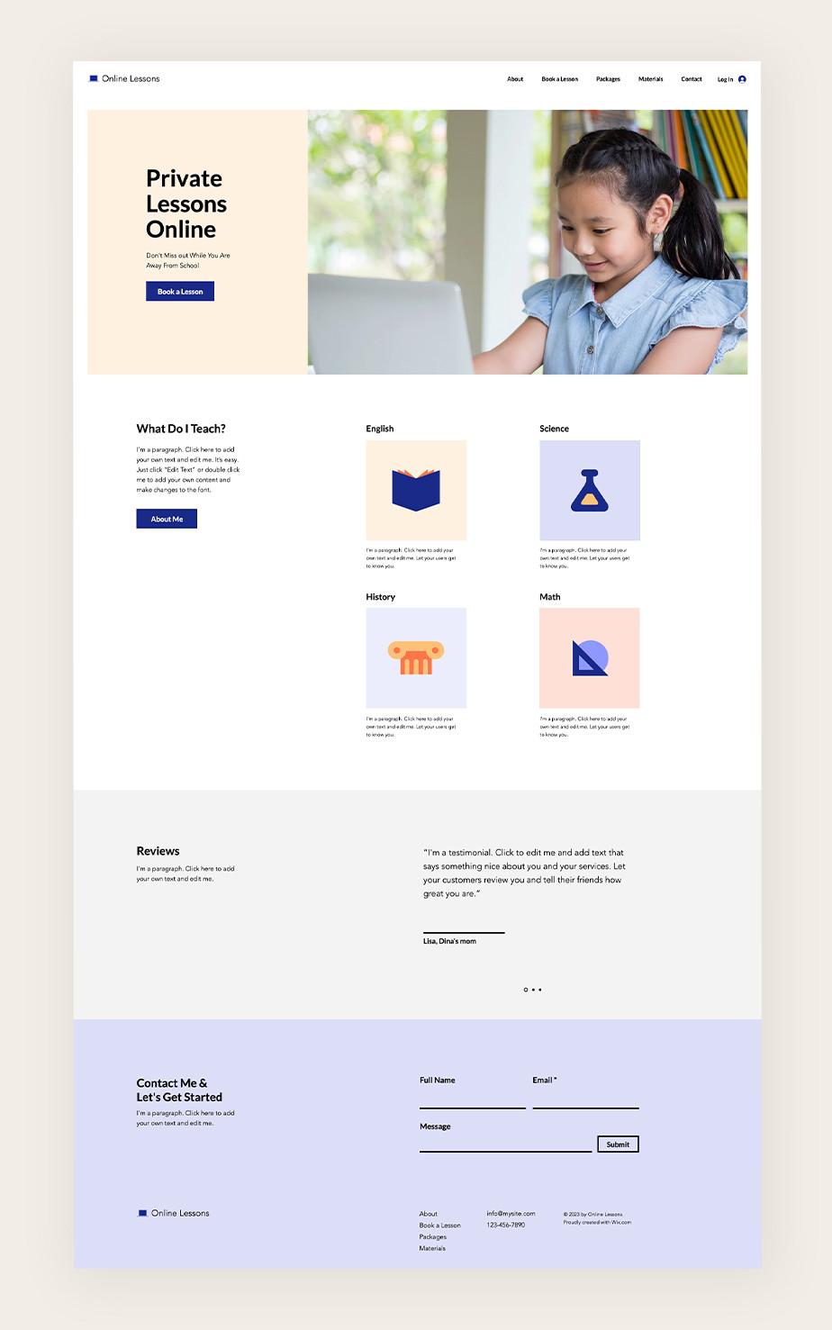 아동을 위한 개인 레슨 회원제 웹사이트의 메인 페이지