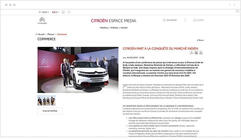Exemple de communiqué de presse - Citroën