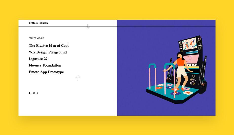제품 디자이너 브리트니 존슨의 포트폴리오 웹사이트 이미지