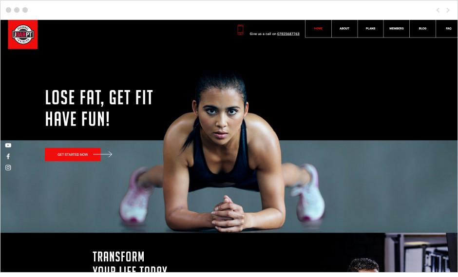 Sito web di fitness Junaid Dar