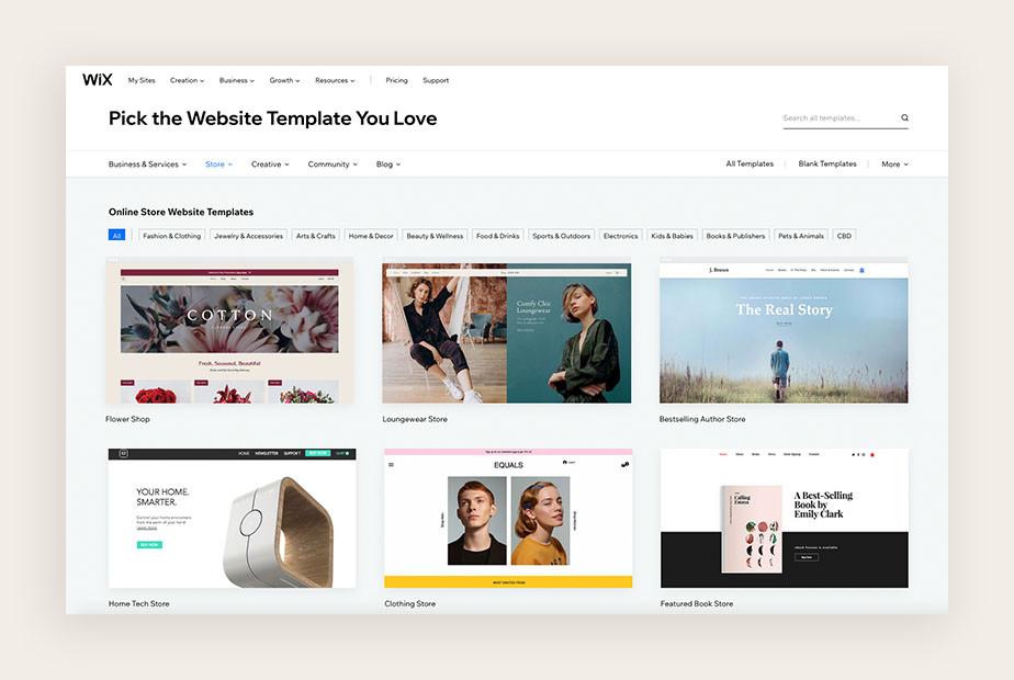 Ansicht verschiedener Website Templates von Wix