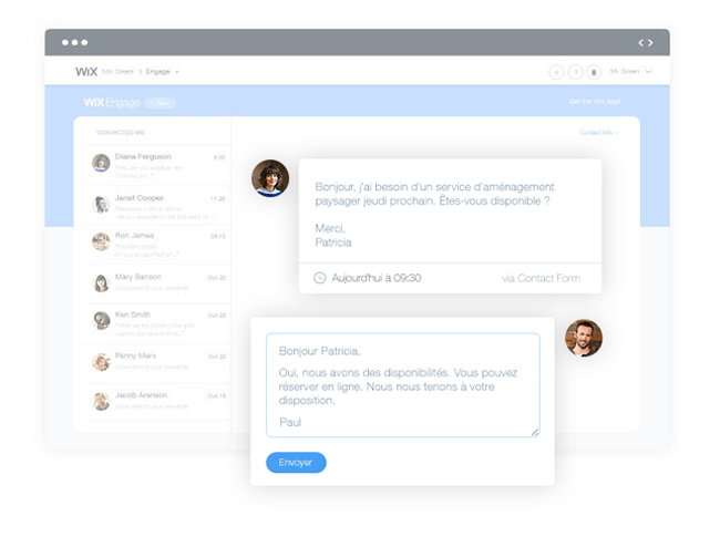 wix engage entreprise contact clients