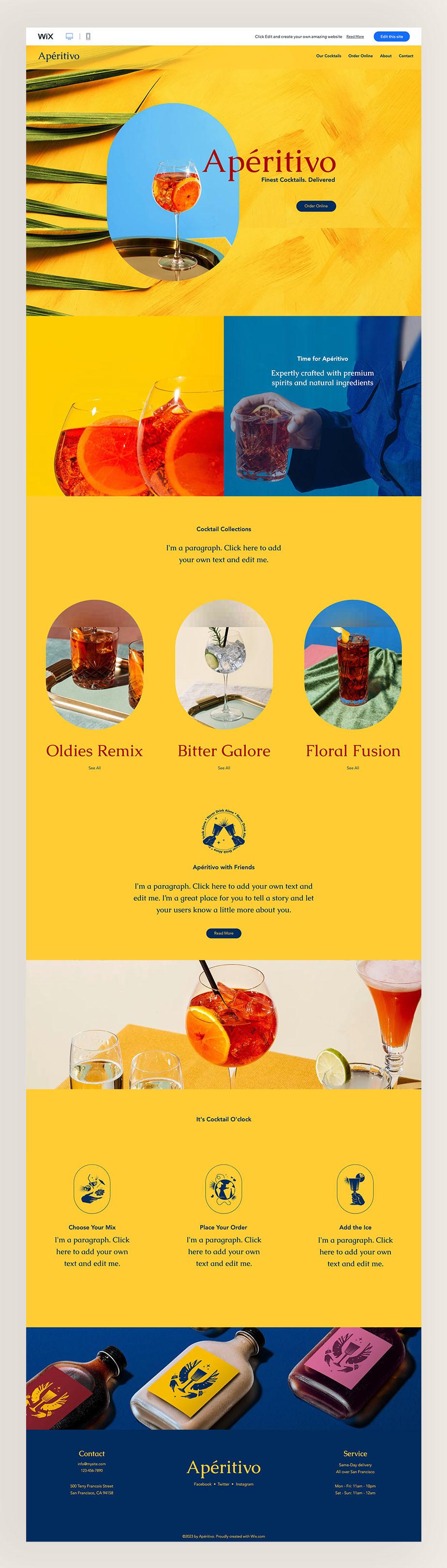 web sitesi örnekleri: kokteyl teslimat hizmeti şablonu