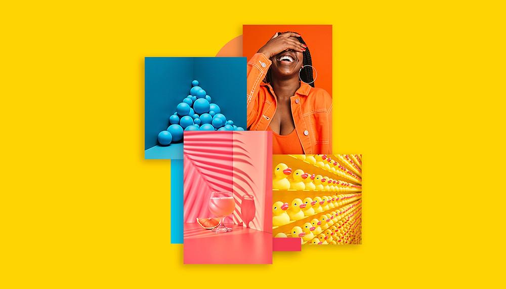 """Imagem de capa do artigo """"Como escolher as cores da sua marca"""". Fundo amarelo com quatro imagens ao centro. Uma em azul, com bolinhas empilhadas no canto de um ambiiente de parede no mesmo tom; uma laranja, om uma mulher de cabelos pretos trajando blusa e jaqueta laranja em um fundo laranja; outra em tons de rosa, onde uma taça contendo bebida cor de rosa aparece em um fundo do mesmo tom, com a sobra de uma planta sobreposta; por fim, uma imagem em tons de amarelo mostra patinhos de borracha enfileirados em prateleiras da mesma cor."""