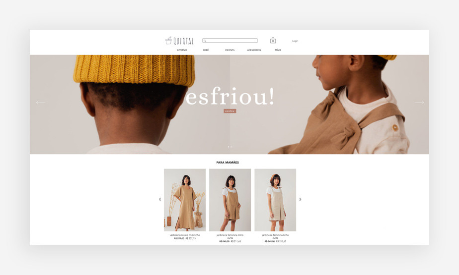 Página inicial da loja virtual de moda infantil Quintal