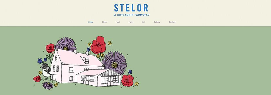 Página web de hoteles con un diseño de ilustración en el cual se ve una casa rural y tiene un fondo verde