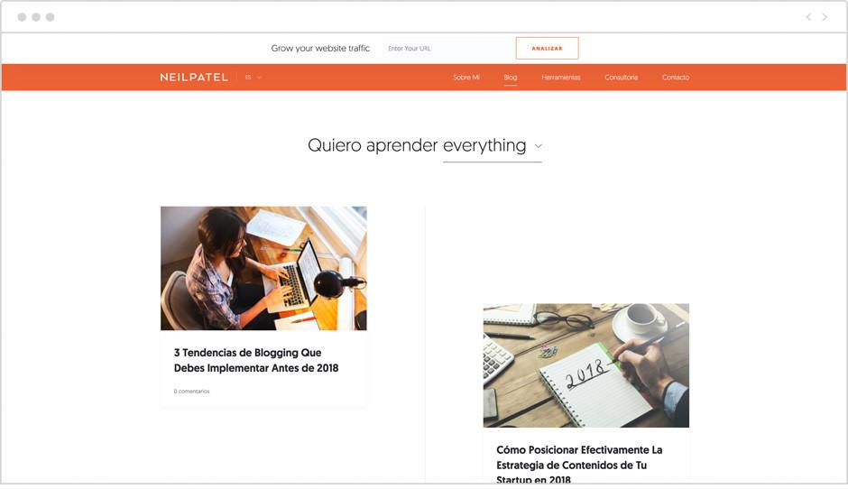 Página de inicio del Blog de Neil Patel en español