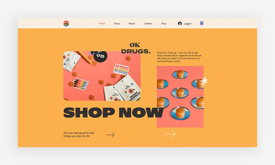 시선을 끄는 밝은 색감과 디자인의 아름다운 오케이 드럭스 홈페이지 메인 이미지