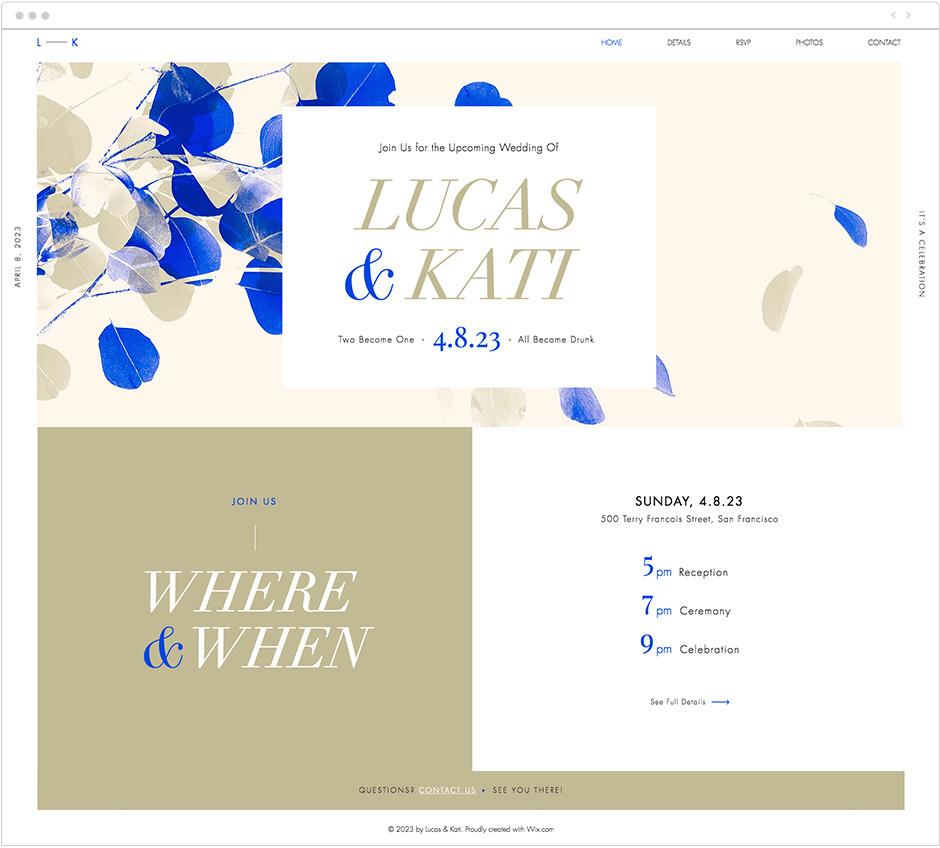 Plantilla web wix para páginas de bodas