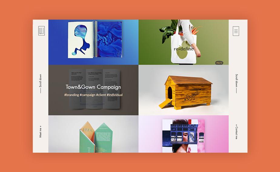 Captura de tela do site de portfólio da designer Wendy Ju, com duas barras laterais em branco em ambos os lados da página, e 6 fotos retangulares de seus trabalhos divididas pela tela.