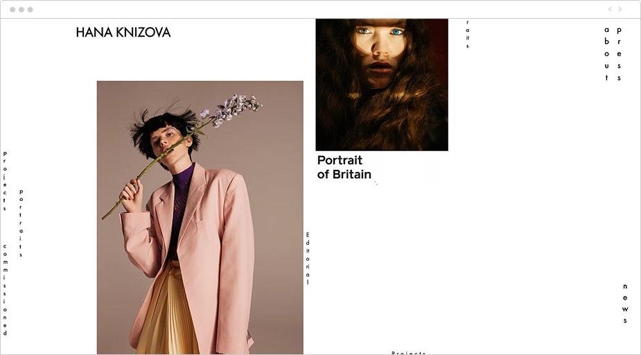 Asymetryczne portfolio fotograficzne przykład