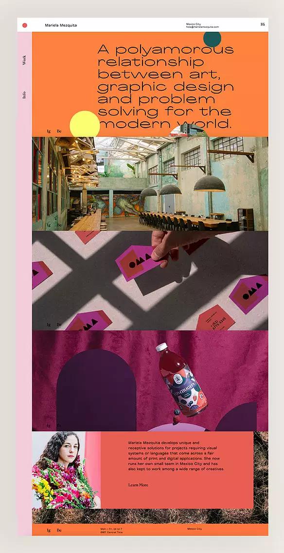 Mariela Mezquita, ejemplo de página web de diseño gráfico de Wix
