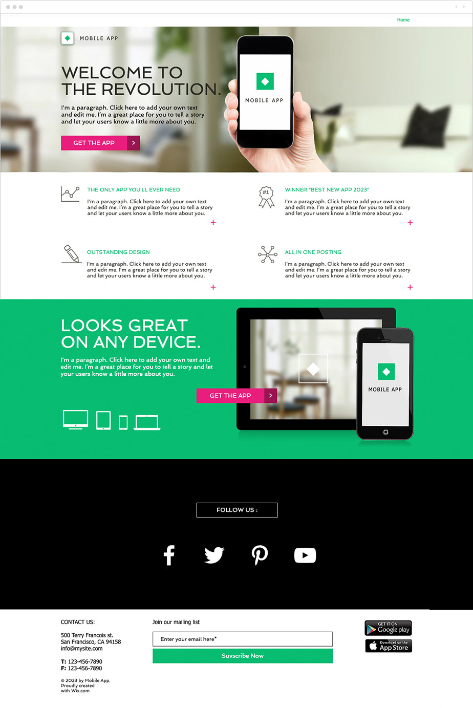 App free landing page template