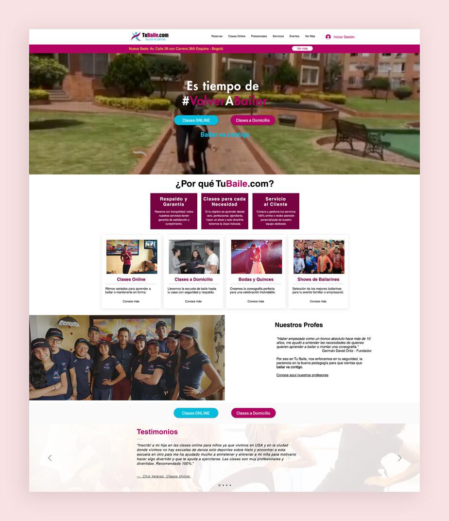 Página web de reservas de Tu Baile