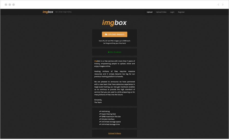 Image hosting na platformie Imgbox