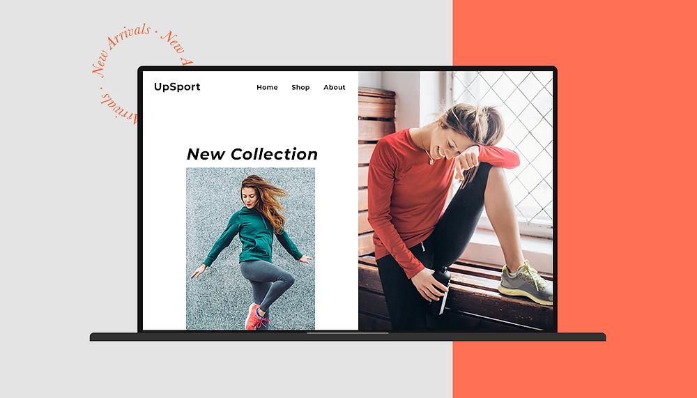 Bild einer Website mit zwei Frauen in Sportkleidung als Beispiel für ein Nischenprodukt