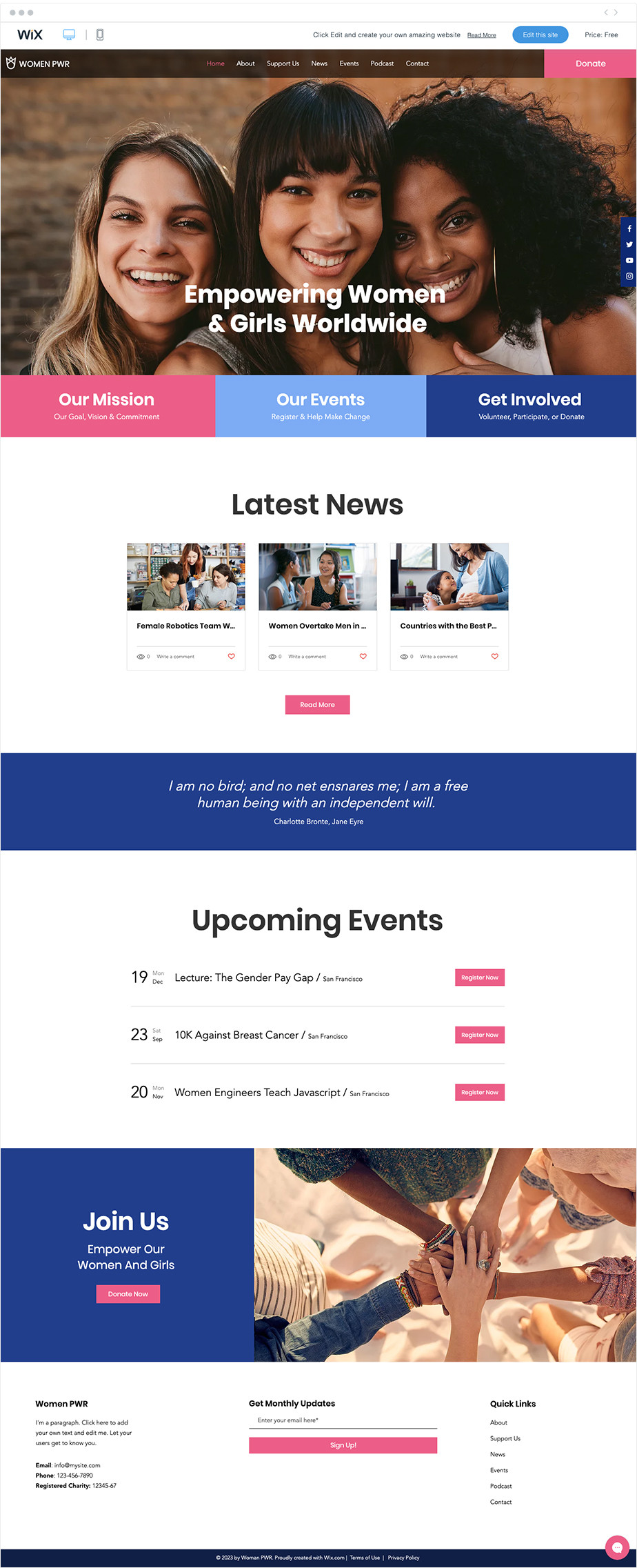 Women Empowerment free nonprofit website template by Wix