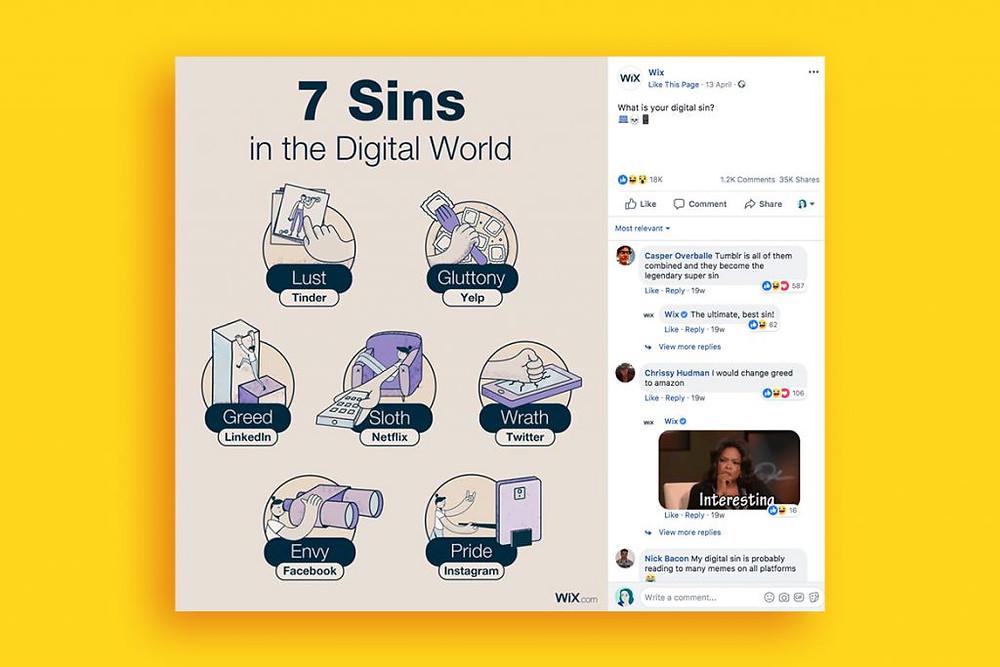 7 sins in the digital world social media post