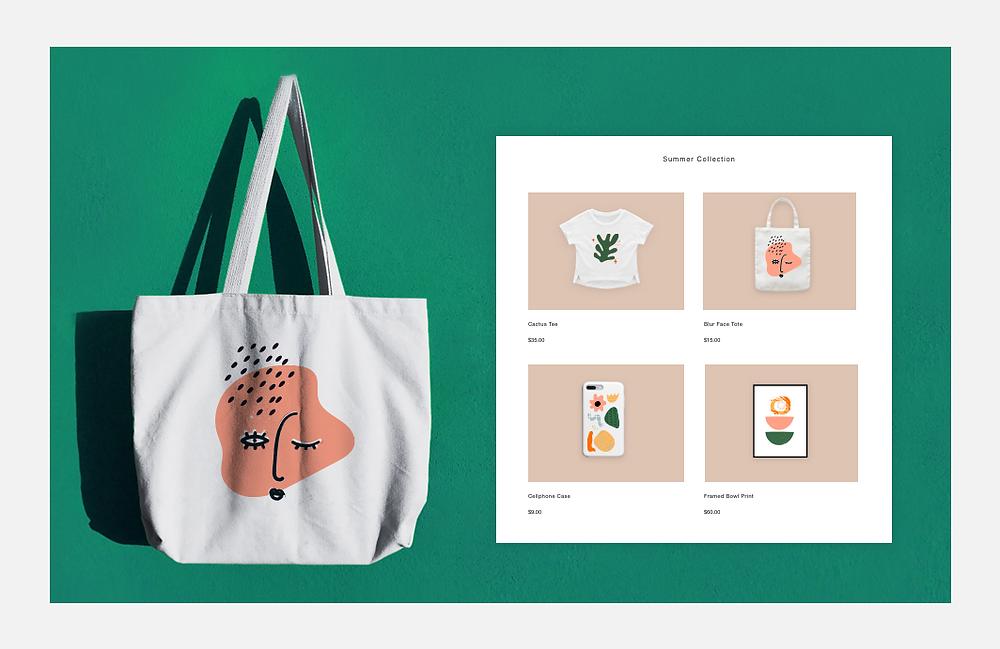 Fundo verde com ecobag e exemplo de vitrine de loja virtual à esquerda com 4 produtos
