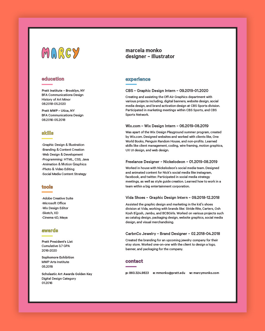 Graphic design resume example by Marcy Monko