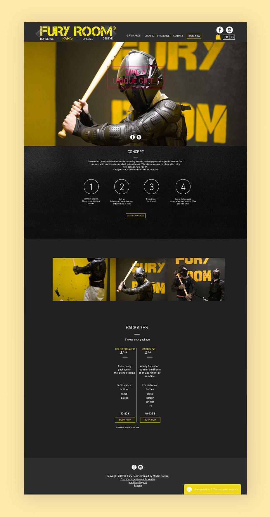 Exemplo de site que utiliza o Wix Bookings: Fury Room