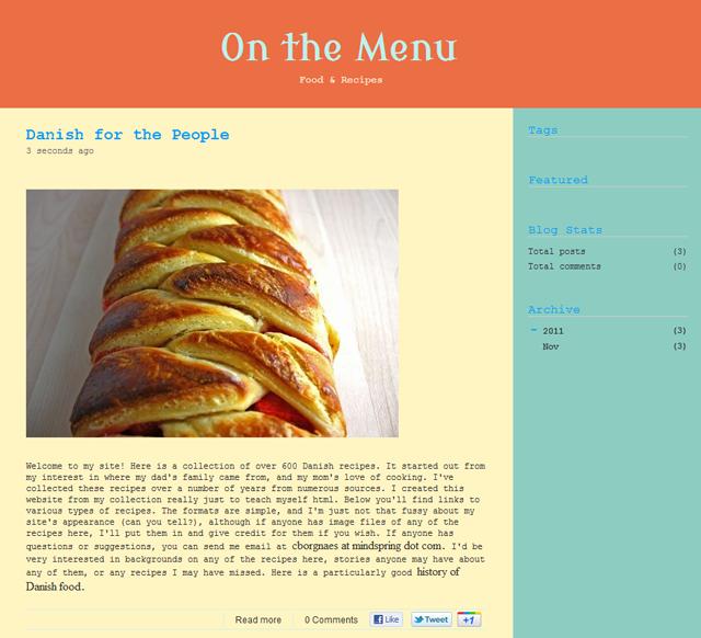 Blog On the Menu