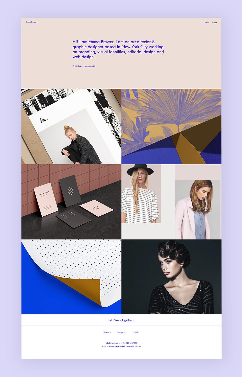 Bild einer Portfolio Website als Beispiel für Website-Typen